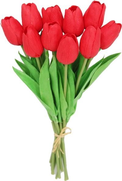 Yapay Çiçek Deposu Yapay 10Lu Islak Lale Buketi Gerçek Doku Kırmızı