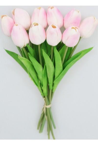Yapay Çiçek Deposu Yapay 10Lu Islak Lale Buketi Gerçek Doku Pudra