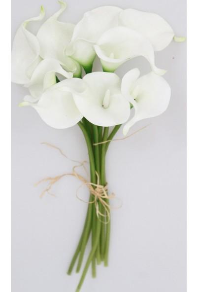 Yapay Çiçek Deposu Yapay Çiçek Islak Gerçek Gala Çiçeği 9 Dal Net Beyaz
