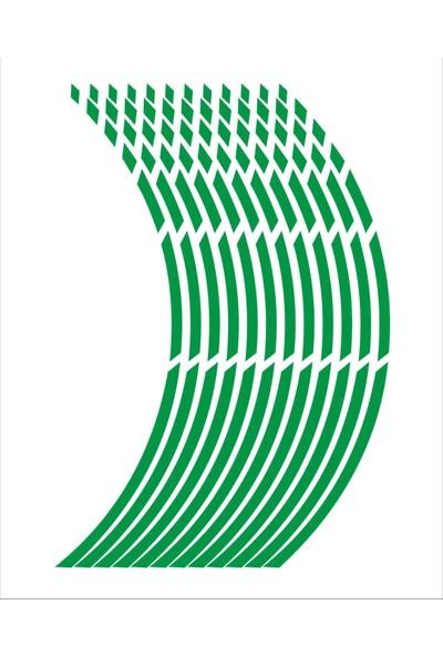 Stickermarket Yeşil Fosforlu Jant Şeridi Kesikli