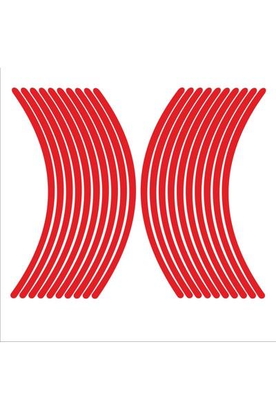 Stickermarket Kırmızı Fosforlu Jant Şeridi