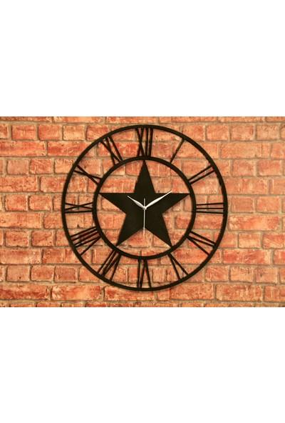 Tasarimaksesuar Metal Duvar Dekoru Yıldız Saat