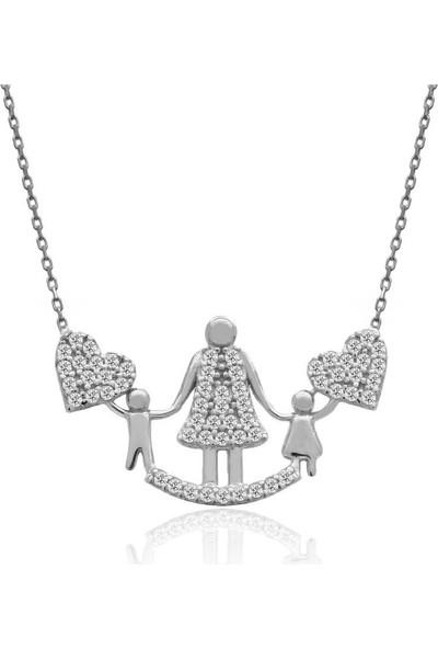 İndigo Takı Beyaz Anne Çocuk Gümüş Kolye
