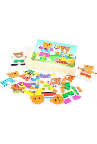 Momz Sevimli Ayı Ailesi Eğitici Ahşap Yapboz Puzzle Montessori Oyuncak 2 Ayı