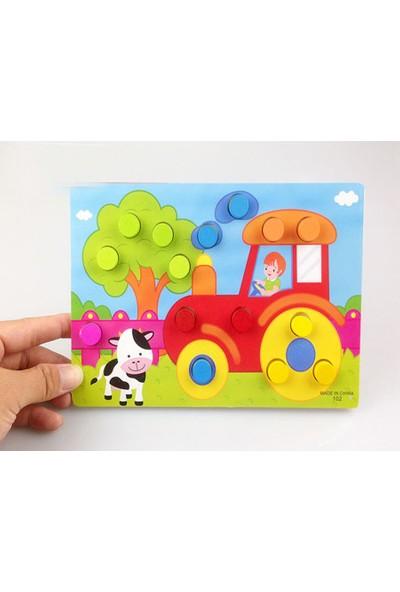 Momz Eğitici Ahşap Montessori Oyuncak Çiftlik Puzzle Yapboz