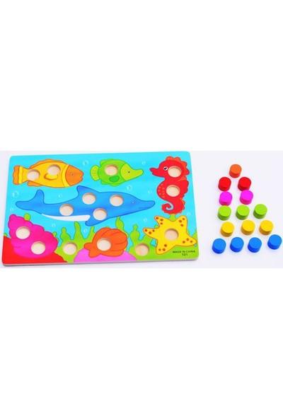 Momz Eğitici Ahşap Montessori Oyuncak Okyanus Puzzle Yapboz