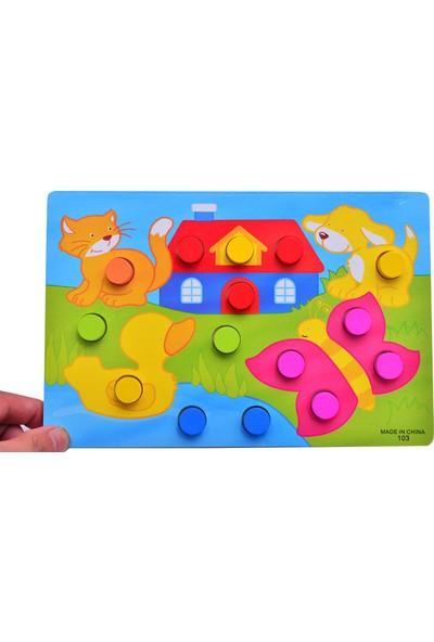 Momz Eğitici Ahşap Montessori Oyuncak Hayvanlar Puzzle Yapboz