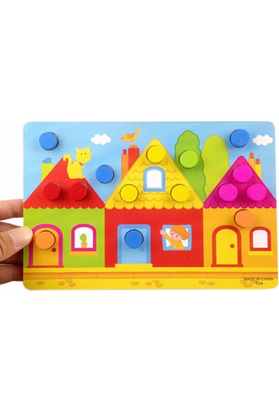 Momz Eğitici Ahşap Montessori Oyuncak Ev Puzzle Yapboz