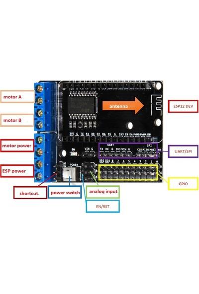 Güvenrob ESP8266 WiFi Motor Sürücü Board For NodeMCU ESP-12E