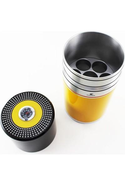 Cohiba Metal Silindir Seyahat Humidor Yellow