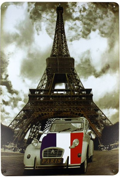 T-Bek Dekoratif Vintage Metal Pano Eifell Tower 20X30