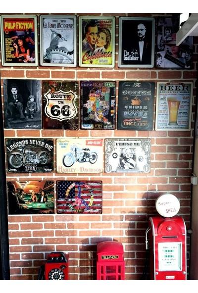 T-Bek Dekoratif Vintage Metal Pano Harley Motor 20X30