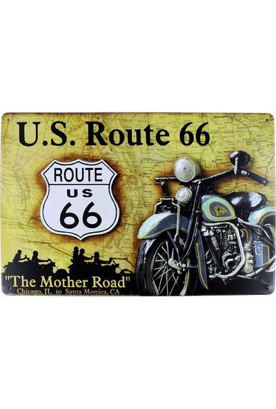 T-Bek Dekoratif Vintage Metal Pano Route 66 20X30