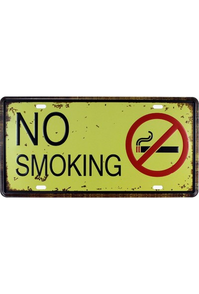 T-Bek Vintage Metal Plaka No Smoking 15X30
