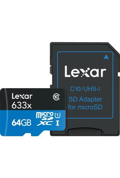 Lexar 64GB microSDXC UHS-I 633X 95mb/sn (Class 10) U1+ SD Adaptor Hafıza Kartı LSDMI64GBBEU633A