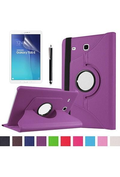 Kea Samsung Galaxy Tab E Sm-T560 9.7 360° Dönebilen Standlı Mor Kılıf + Ekran Koruyucu Film + Tablet Kalemi