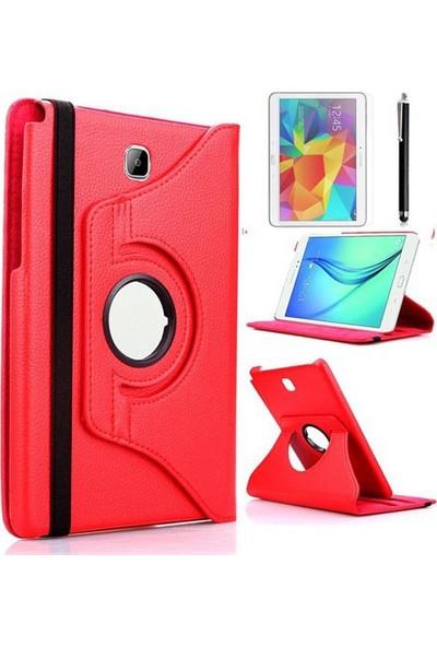 Kea Samsung Galaxy Tab A T550 9.7 360° Dönebilen Standlı Kırmızı Kılıf + Ekran Koruyucu Film + Tablet Kalemi