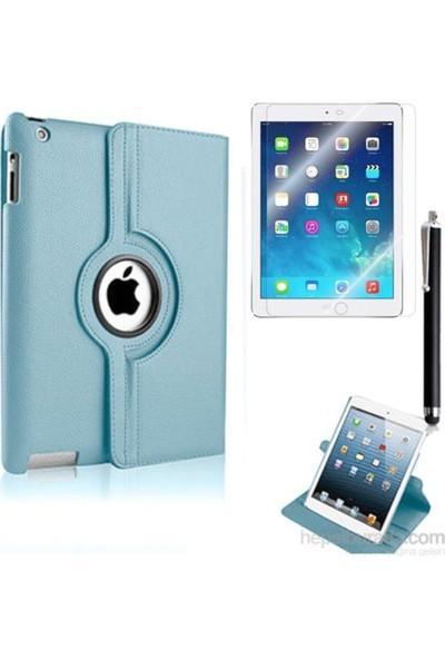 Kea Apple iPad Air 2 (iPad 6) 360° Dönebilen Standlı Mavi Kılıf + Ekran Koruyucu Film + Tablet Kalemi