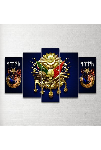 Plustablo Osmanlı Arması 5 Parça Mdf Tablo 100X60 Cm