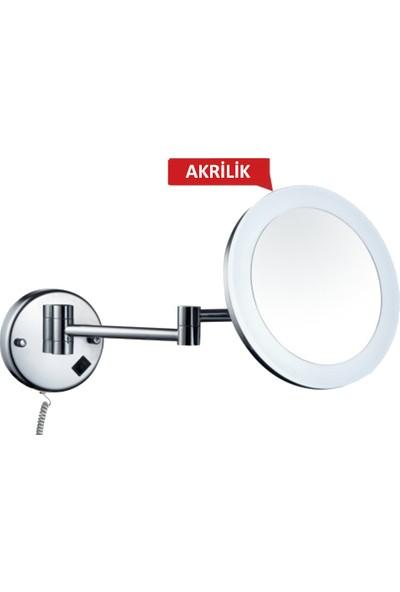 Bauboss Akrilik Çerçeveli, Led Işıklı, Mafsallı Makyaj Ve Tıraş Aynası