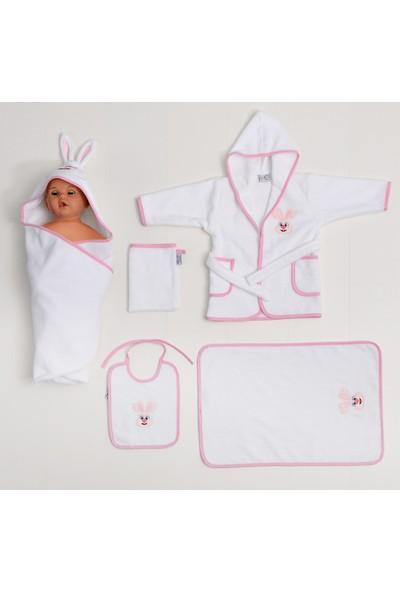 Airycot Bebek Bornoz Seti Pembe Tavşan (5 Parça Bebek Seti)