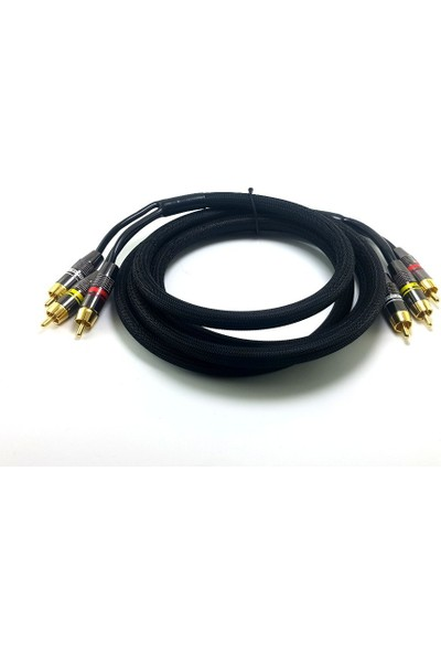 Electroon 3Rca Gold Kablo Metal Fişli 2Mt