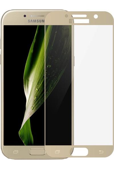 Case 4U Samsung Galaxy A3 2017 Full Kapatan Cam Ekran Koruyucu Altın
