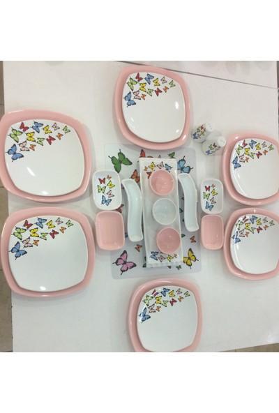 Keramika Kelebek Desenli 24 Parça 6 Kişilik Seramik Kahvaltı Takımı Açık Pembe