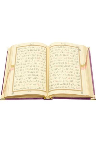 Hayrat Kadife Kuran-I Kerim Hafız Boy (Lila, Nakışlı, Yaldızlı, Mühürlü)