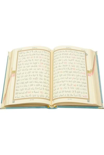 Hayrat Kadife Kuran-I Kerim Hafız Boy (Mavi, Nakışlı, Yaldızlı, Mühürlü)