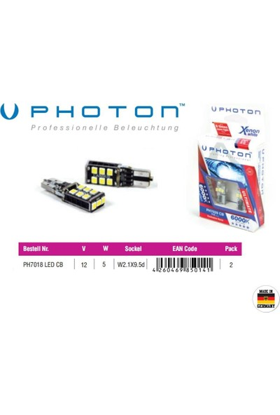 Photon T10 W5W 12V Exclusive Can Bus 6+6+3 Beyaz Led