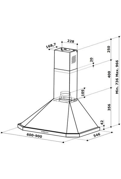 """Kügerr D100 """"Dünyanın En Sessiz Davlumbazı"""" 90 cm Piramit Davlumbaz"""