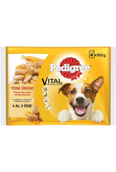 Pedigree Multipack Biftek&Kuzu - Hindi&Havuç Köpek Pouch 4x100gr