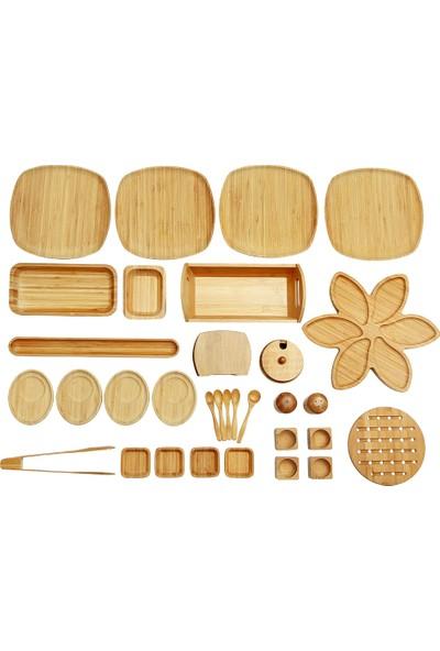 Bambum İkon 33 Parça 4 Kişilik Bambu Kahvaltı Takımı