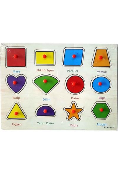 Kartoy Ahşap Oyuncak Tutmalı Puzzle Geometrik Şekiller