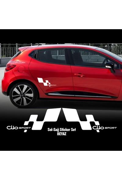 Otografik - Renault Clıo Sport Oto Stıcker Set 30X13Cm Beyaz 30X13Cm