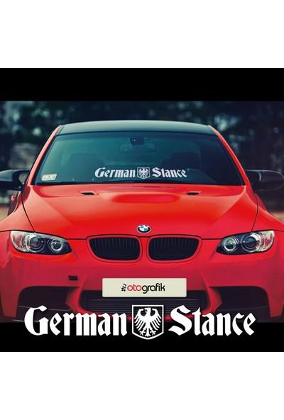 Otografik - German Stance - Alman Duruşu Ön Cam Oto Stıcker 75X11Cm Beyaz 75X11Cm