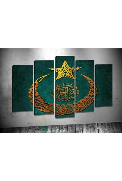 Caddeko Ay2 Hilal Yıldız Ayet Yeşil Kanvas Tablo 70 x 100 cm