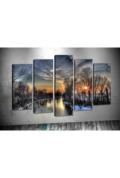 Caddeko Pl57 Gölde Akşam Kanvas Tablo 70 x 100 cm