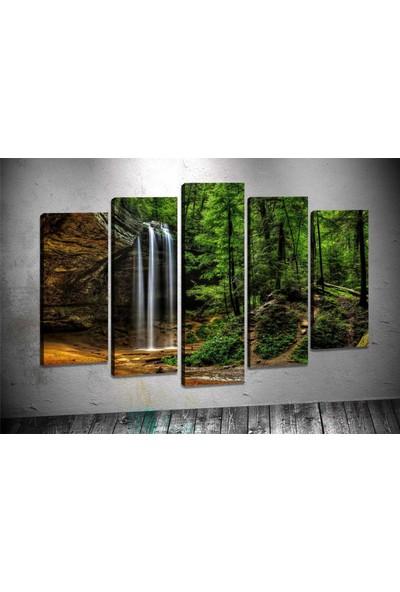 Caddeko Rpt112 Kahve Yeşil Şelale Kanvas Tablo 70 x 100 cm