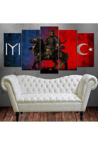 Caddeko Slc1B Savaşçı Kayı Türk Mavi Kırmızı Kanvas Tablo 70 x 100 cm