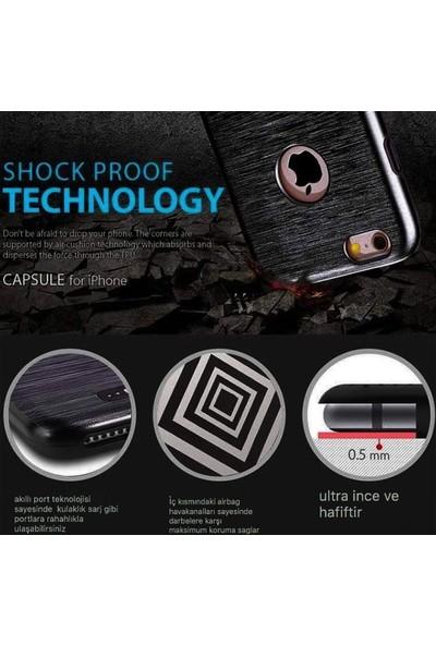 Kkd Apple iPhone 6 /6s Kılıf Silikon Metalik Zırh 360 Tam Koruma +Koruma