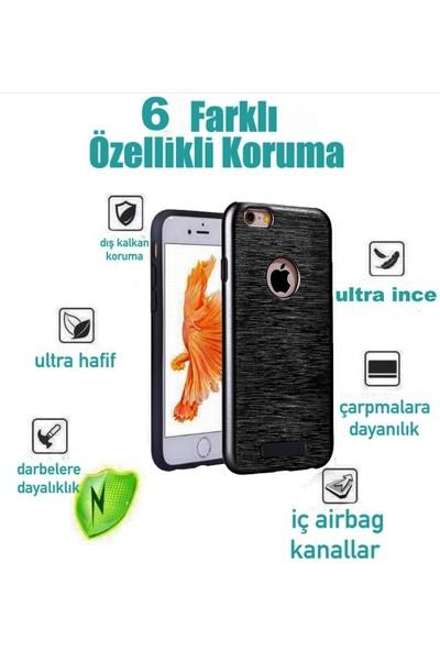 Kkd Apple iPhone 7 /7s Kılıf Silikon Metalik Zırh 360 Tam Koruma +Koruma