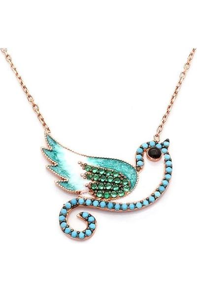 Takıhan Turkuaz Nano Taşlı Kuş Motifli Kadın Gümüş Kolye Th88
