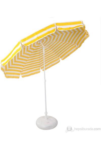 Ünvanlı Plaj Balkon Bahçe Şemsiyesi 220 Cm 10 Telli - Sarı Beyaz + Bidon Hediyeli