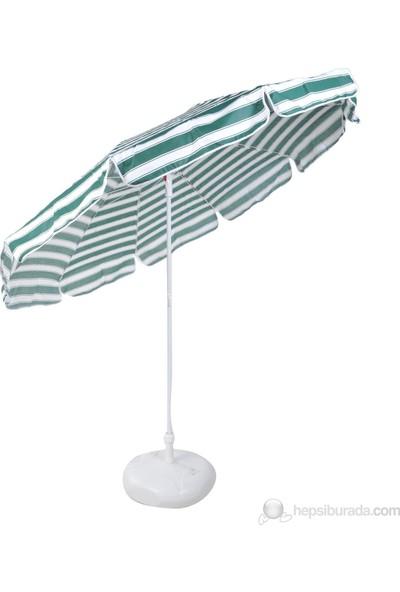 Ünvanlı Plaj Balkon Bahçe Şemsiyesi 220 Cm 10 Telli - Yeşil Beyaz + Bidon Hediyeli