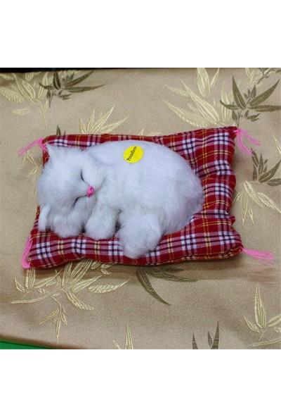 Trendelektro Peluş Kedi Uyuyan - Miyavlayan Kedi (Beyaz)