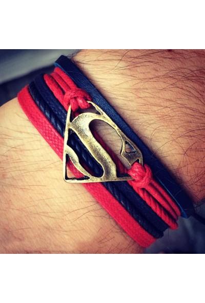 Taqıntı Süperman Deri - İp Bileklik B67