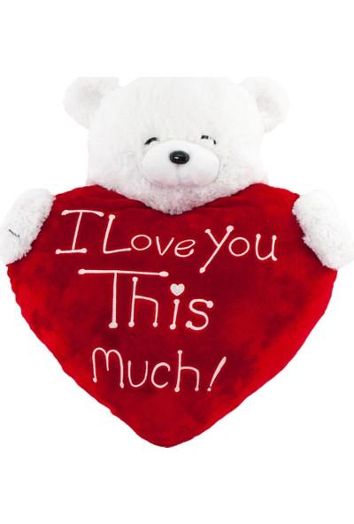Neco Plush Sevgiliye Hediye Fluffy Kalp Üstü Yarım Ayı 50 cm