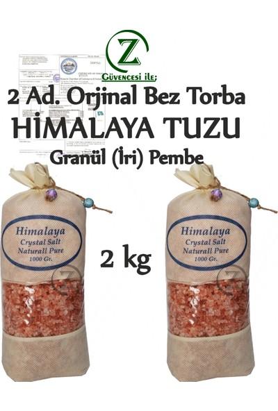 Himalaya İthal Himalaya Tuzu Granül İri Tane Pembe - 2 Kg. Orjinal Bez Torba